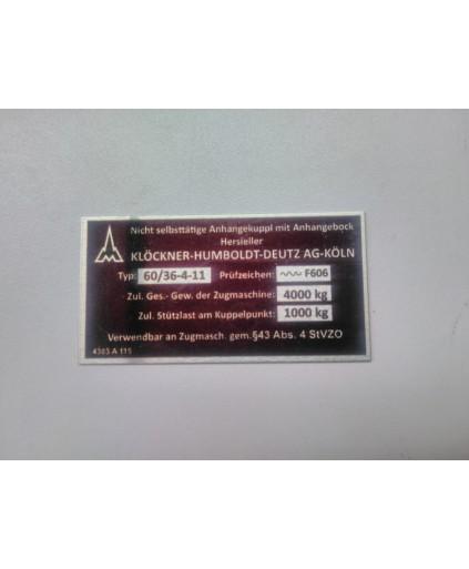 Deutz anhängerkupplung typenschild 60/36-4-11 52 x 27 mm