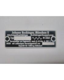 Johann Rockinger anhängerkupplung typenschild  66 x 23 mm